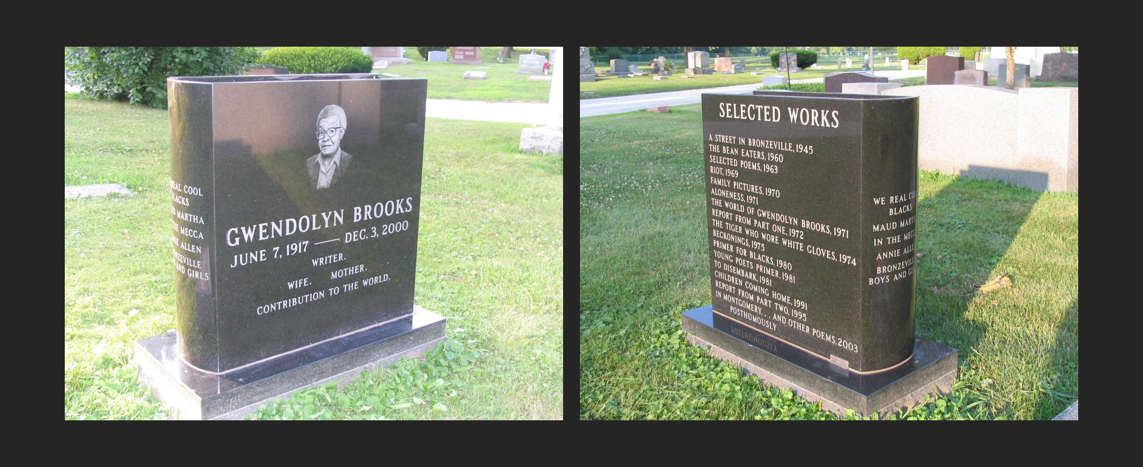 The headstone at Gwendolyn Brooks' grave