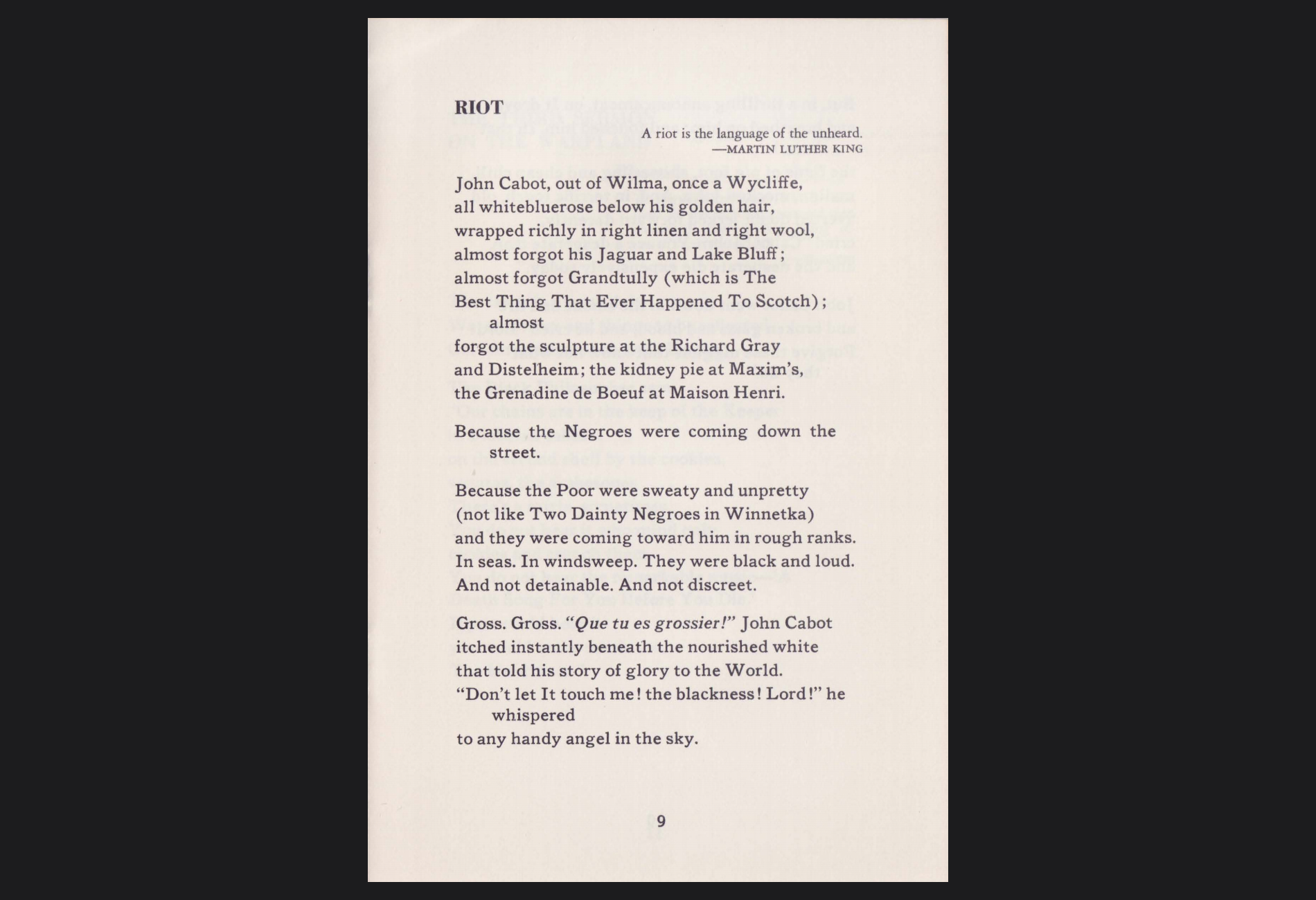 Gwendolyn Brooks , first page of RIOT